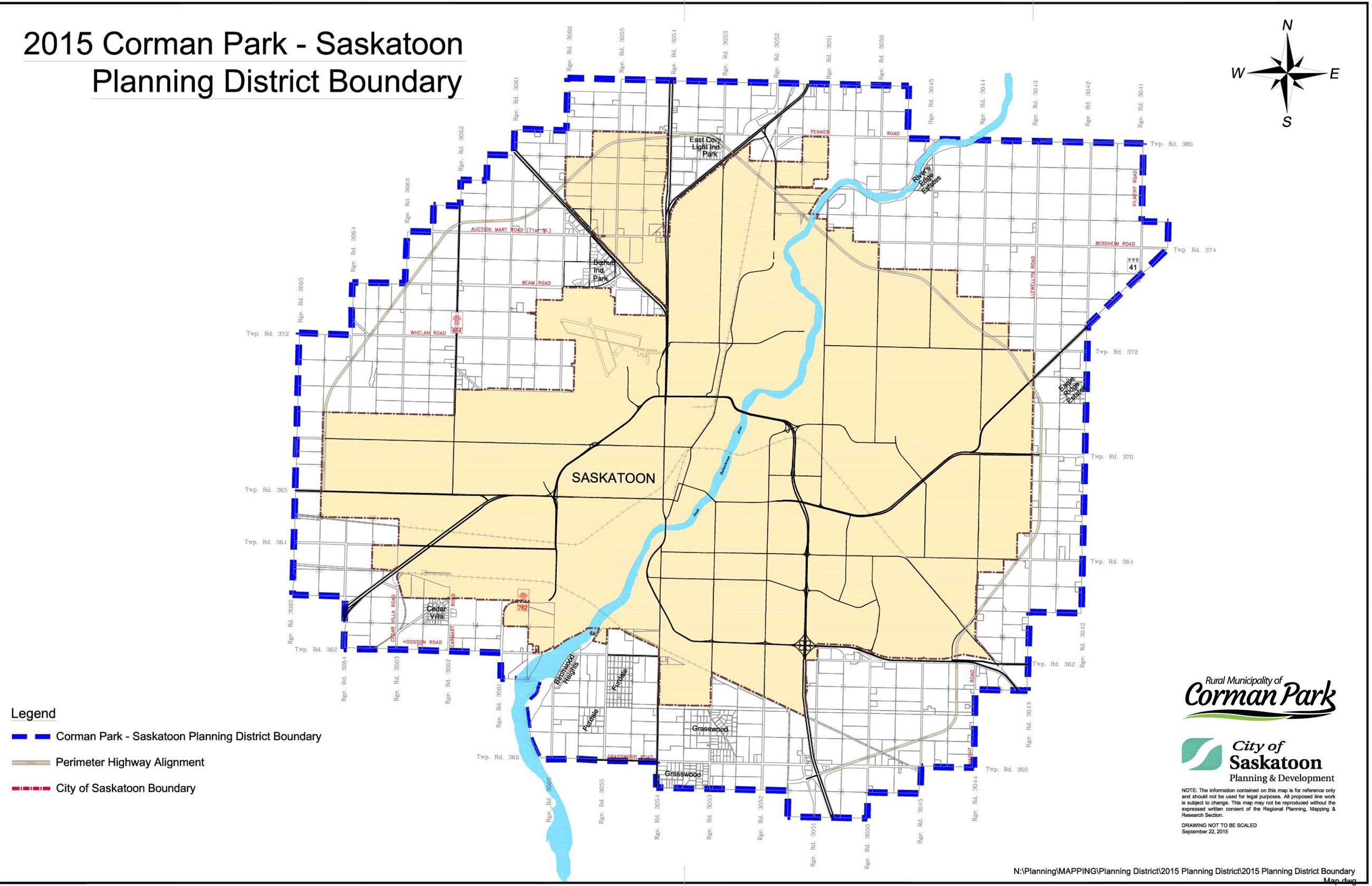 Corman Park - Saskatoon Planning District 2015 Boundary